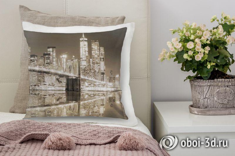 3D Подушка «Бруклинский мост сепия» вид 3