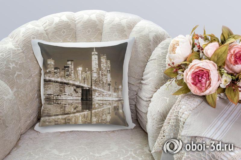 3D Подушка «Бруклинский мост сепия» вид 2