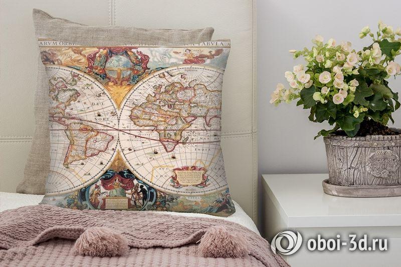 3D Подушка «Карта мира панно»