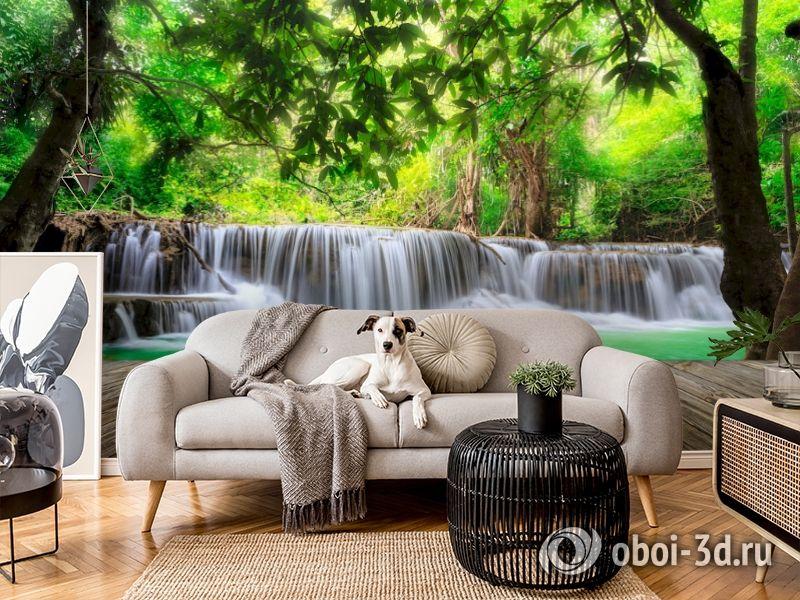 3D Фотообои  «Мостик у водопада»  вид 5