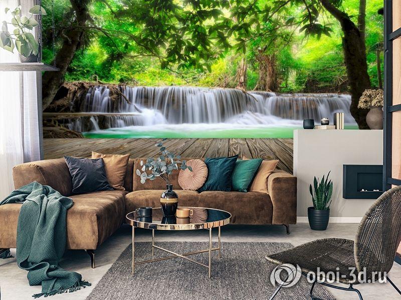 3D Фотообои  «Мостик у водопада»  вид 2