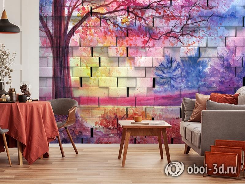 3D Фотообои  «Кирпичная стена с живописью»  вид 4