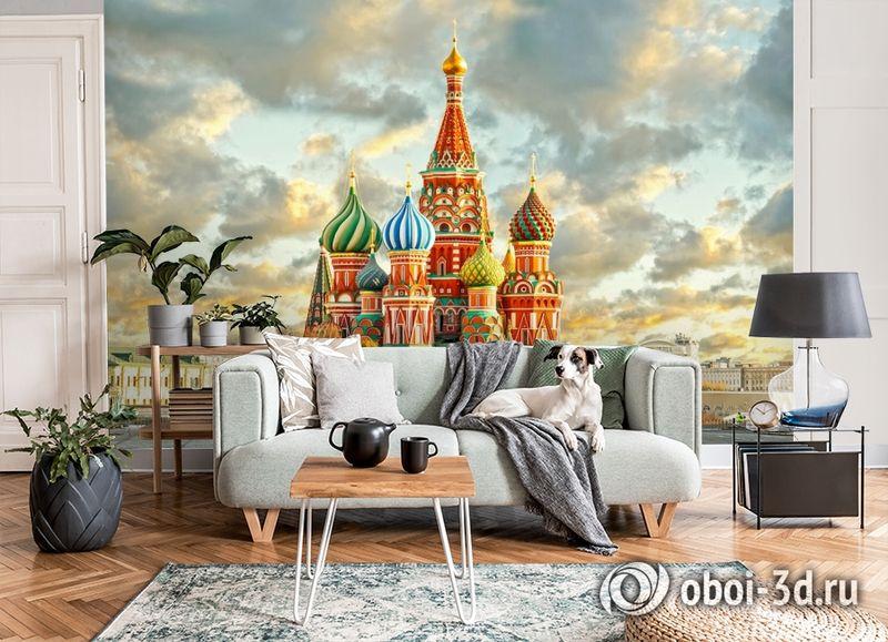 3D Фотообои  «Кремль Москва»  вид 3