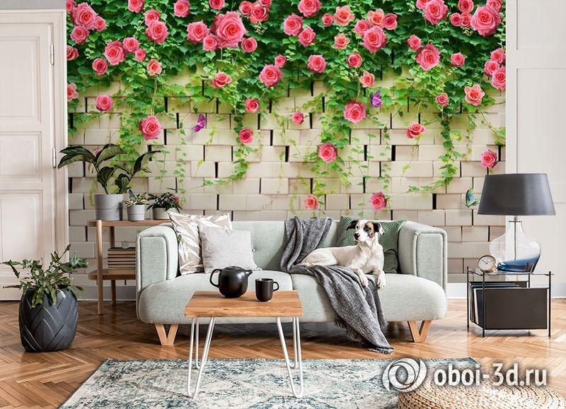 3D Фотообои «Кирпичная стена с цветами» вид 8