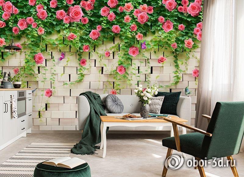 3D Фотообои «Кирпичная стена с цветами» вид 7