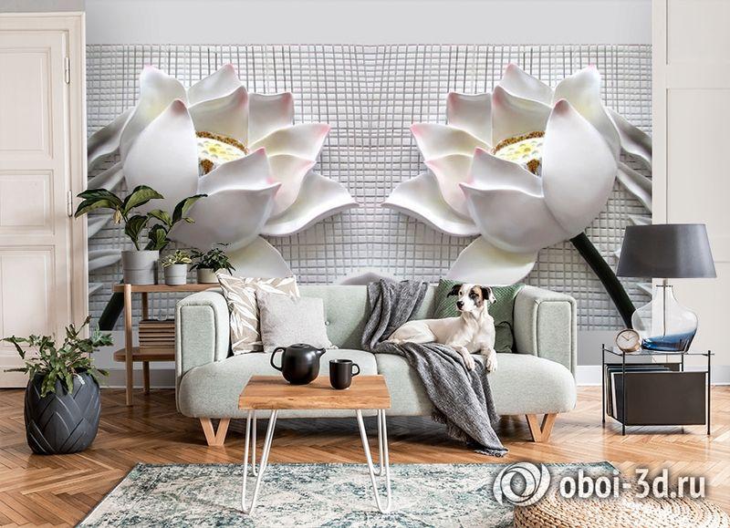 3D Фотообои  «Лотосы на плитке»  вид 8