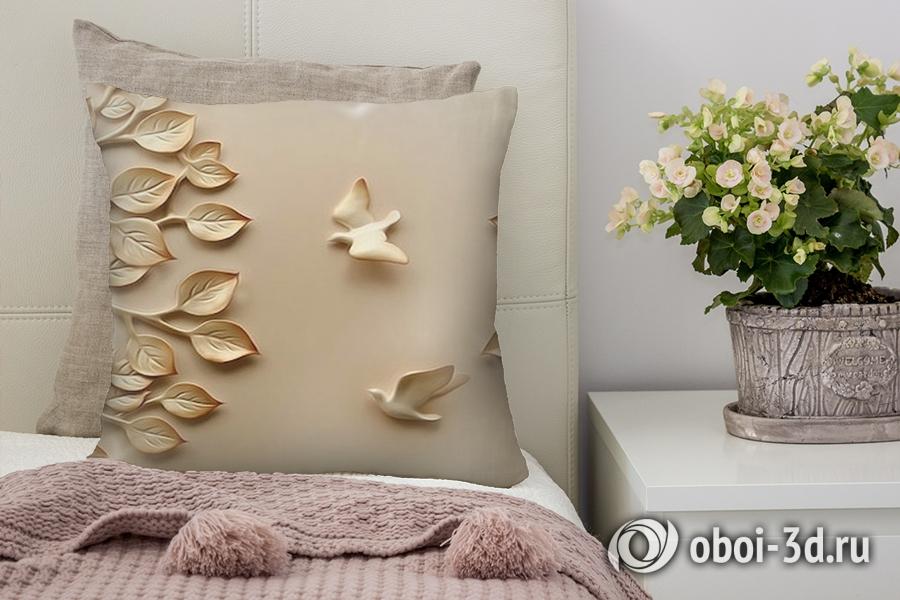 3D Подушка «Трехмерный рельеф с голубями и кронами деревьев»