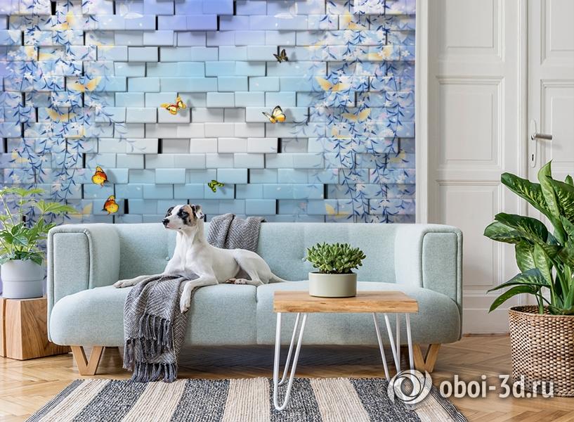 3D Фотообои  «Кирпичная стена с бабочками»  вид 2
