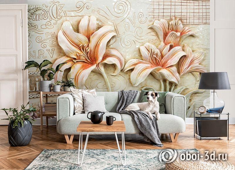 3D Фотообои  «Лилии под каменную фреску»  вид 8