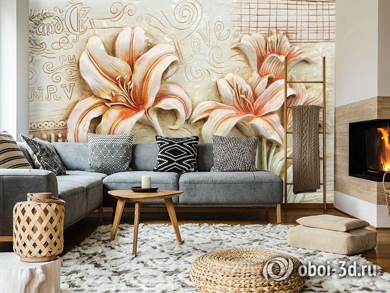 3D Фотообои  «Лилии под каменную фреску»  вид 7
