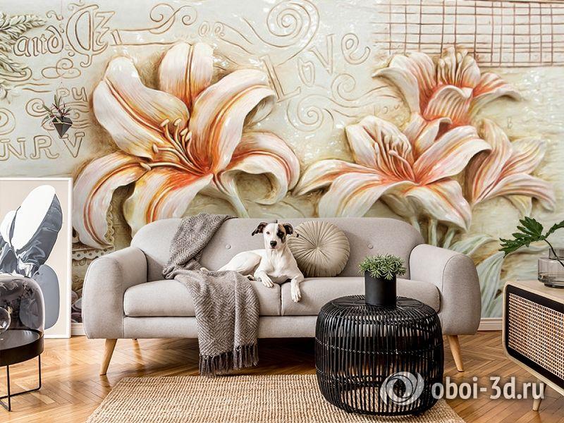3D Фотообои  «Лилии под каменную фреску»  вид 5