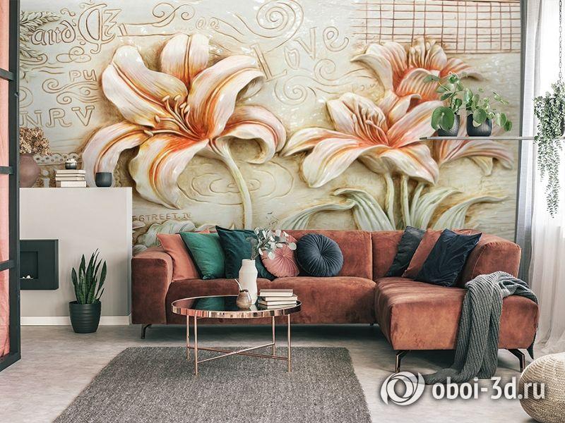 3D Фотообои  «Лилии под каменную фреску»  вид 4