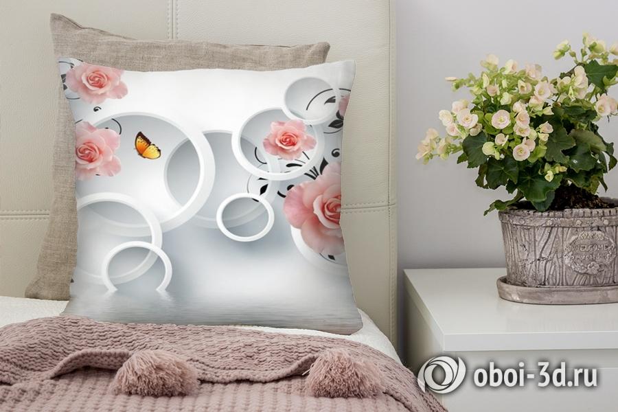 3D фотообои 3D Подушка «Бутоны роз над водой»  вид 1