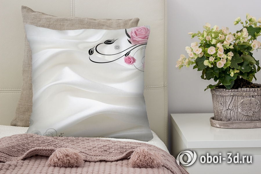 3D Подушка «Розы на шелке»