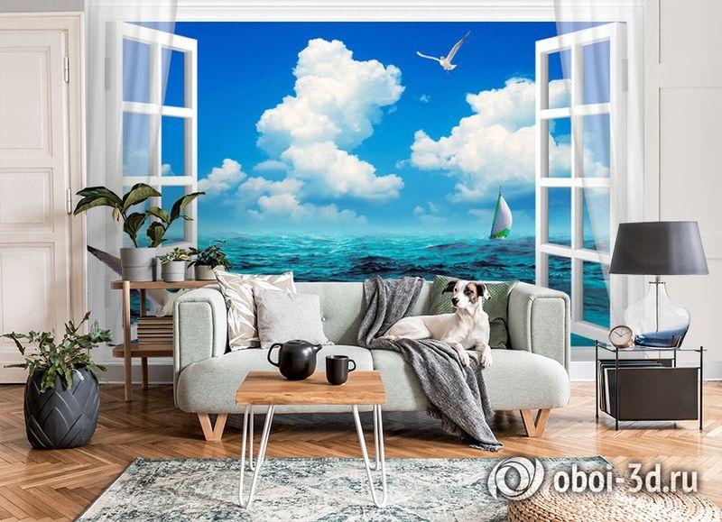 3D Фотообои  «Распахнутое в море окно»  вид 6
