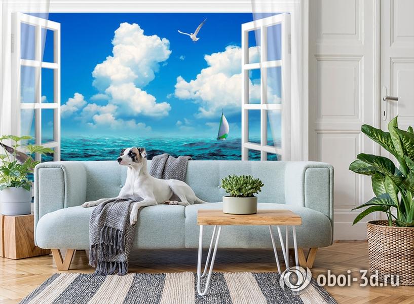 3D Фотообои  «Распахнутое в море окно»  вид 3