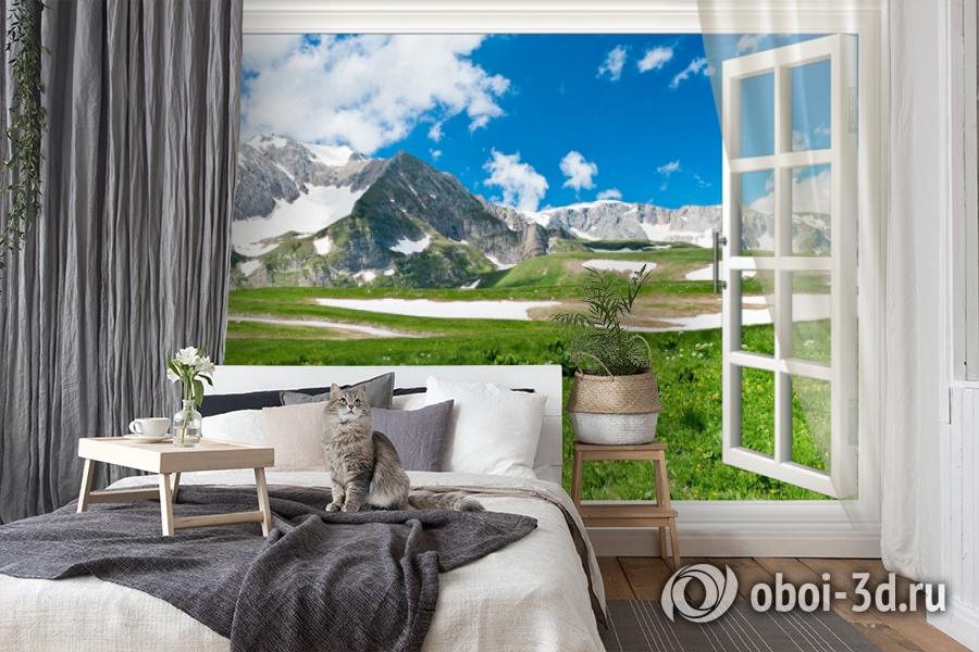 3D Фотообои  «Вид из окна на горную природу»  вид 7