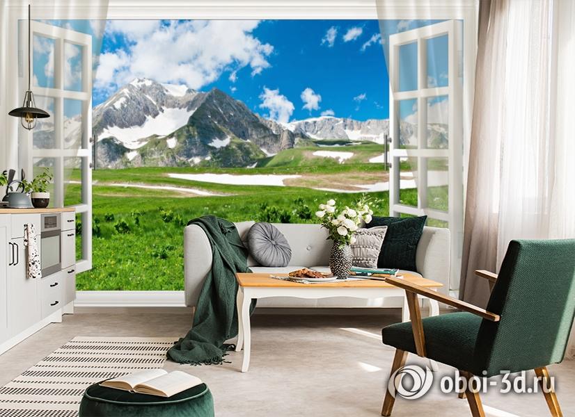 3D Фотообои  «Вид из окна на горную природу»  вид 5