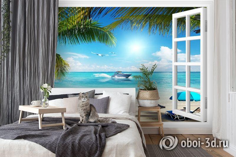 3D Фотообои  «Вид из окна на пляж»  вид 7