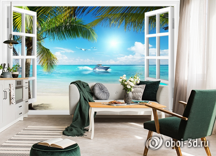 3D Фотообои  «Вид из окна на пляж»  вид 5