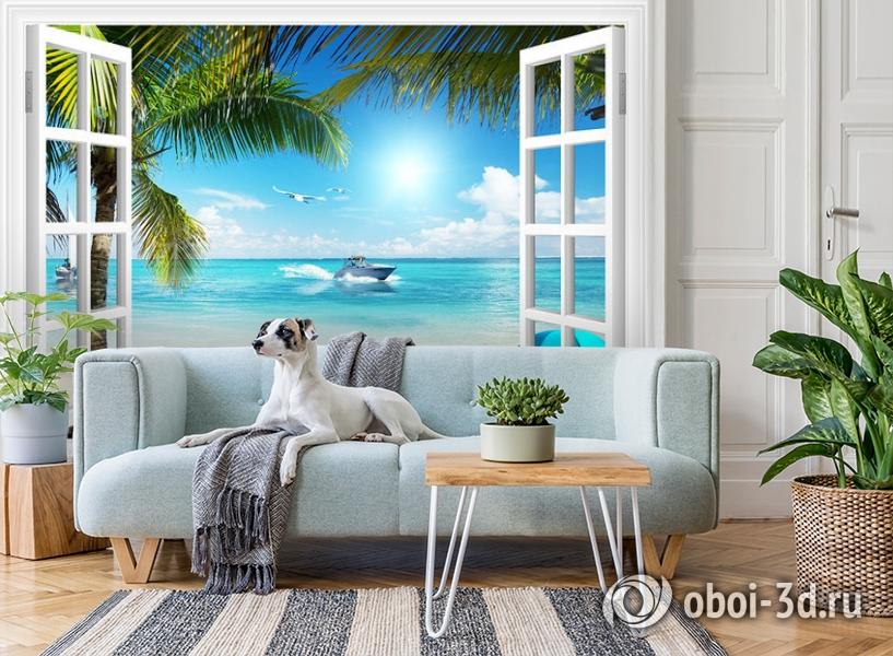 3D Фотообои  «Вид из окна на пляж»  вид 3