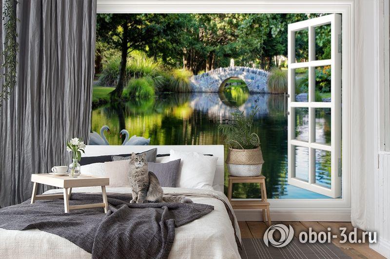 3D Фотообои  «Вид из окна на пруд с лебедями»  вид 7
