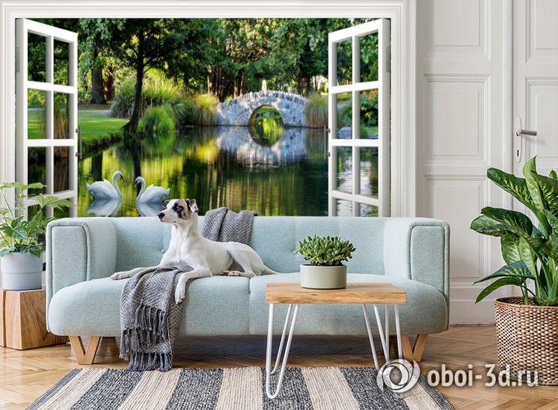 3D Фотообои  «Вид из окна на пруд с лебедями»  вид 3