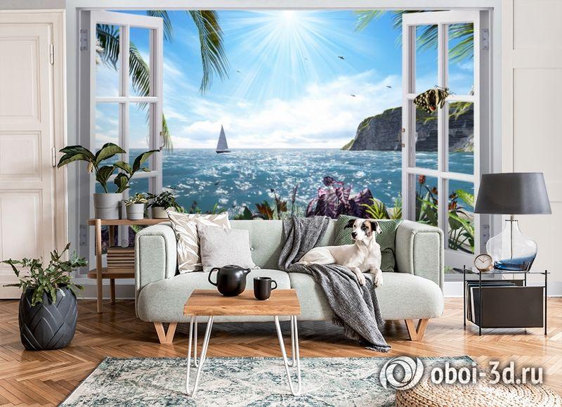 3D Фотообои  «Вид из окна на море»  вид 6