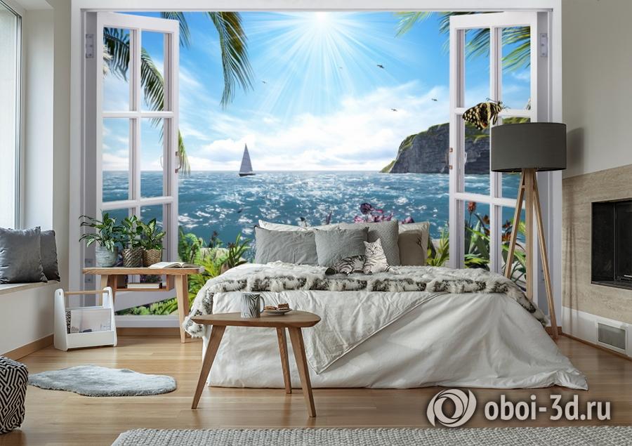 3D Фотообои  «Вид из окна на море»  вид 2