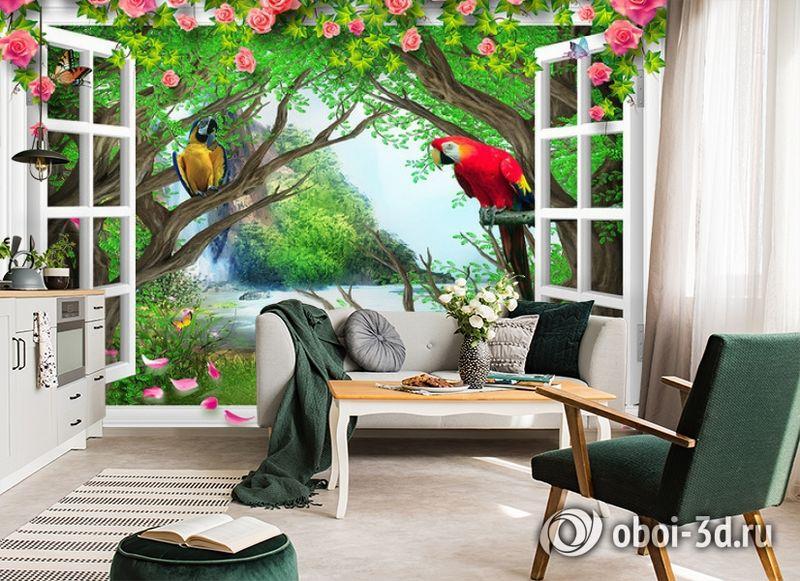 3D Фотообои  «С видом из окна на тропическую экзотику»  вид 5