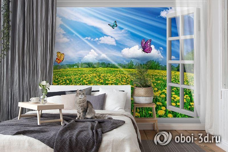 3D Фотообои  «С видом из окна на поле одуванчиков» вид 7