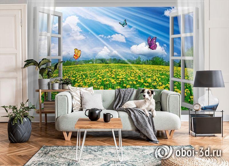 3D Фотообои  «С видом из окна на поле одуванчиков» вид 6