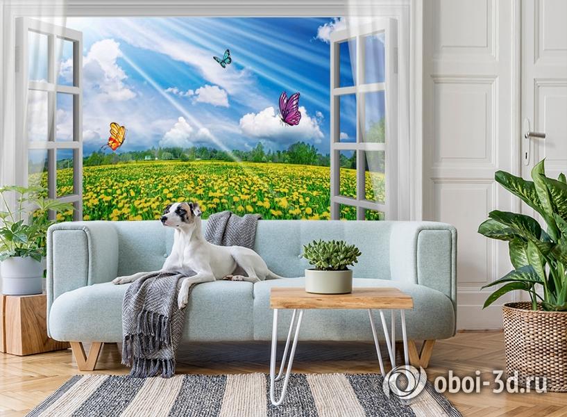 3D Фотообои  «С видом из окна на поле одуванчиков» вид 3