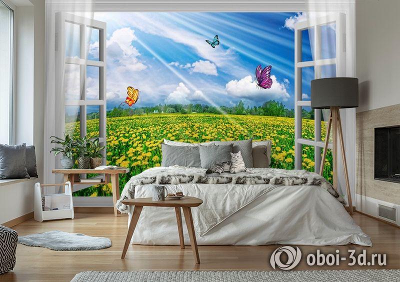 3D Фотообои  «С видом из окна на поле одуванчиков» вид 2
