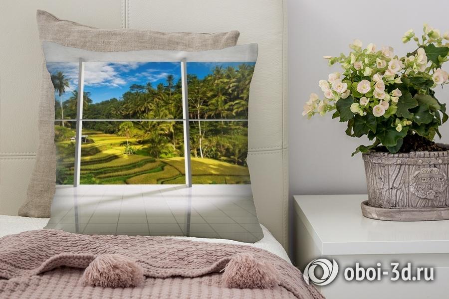 3D Подушка «Терраса с видом на тропический лес»
