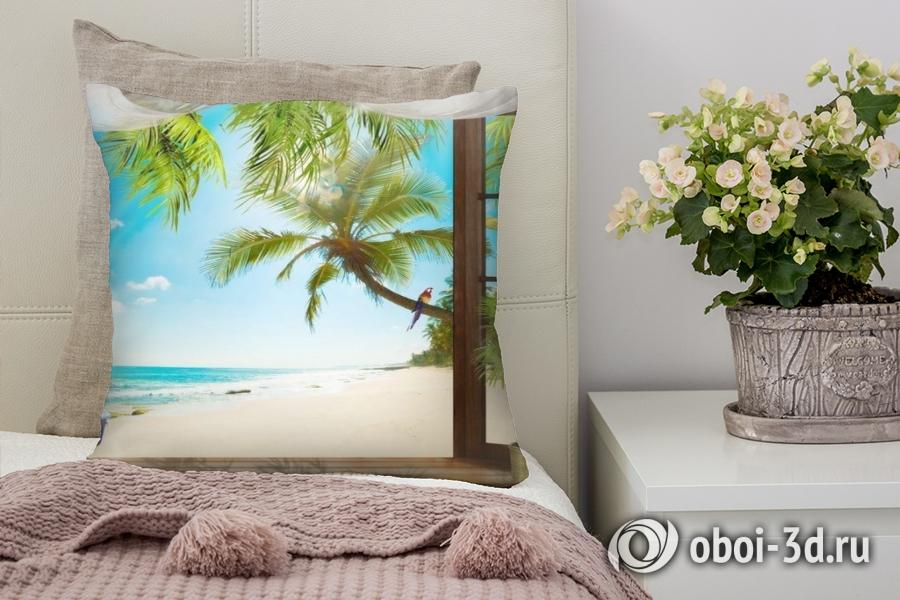 3D Подушка «Терраса у теплого моря»