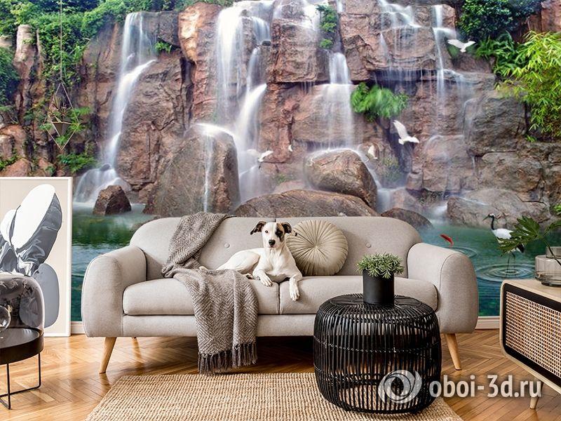 3D Фотообои «Водопад с лебедями» вид 5