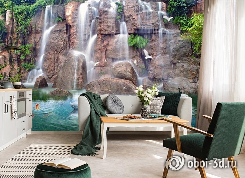 3D Фотообои «Водопад с лебедями» вид 4