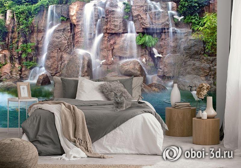 3D Фотообои «Водопад с лебедями» вид 3