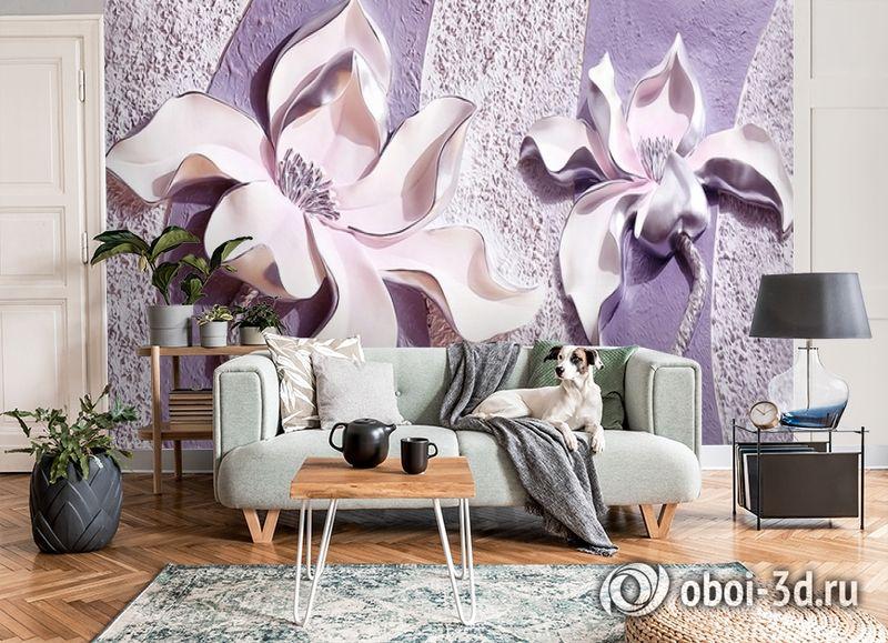 3D Фотообои «Фиолетовые магнолии на рельефном фоне» вид 8