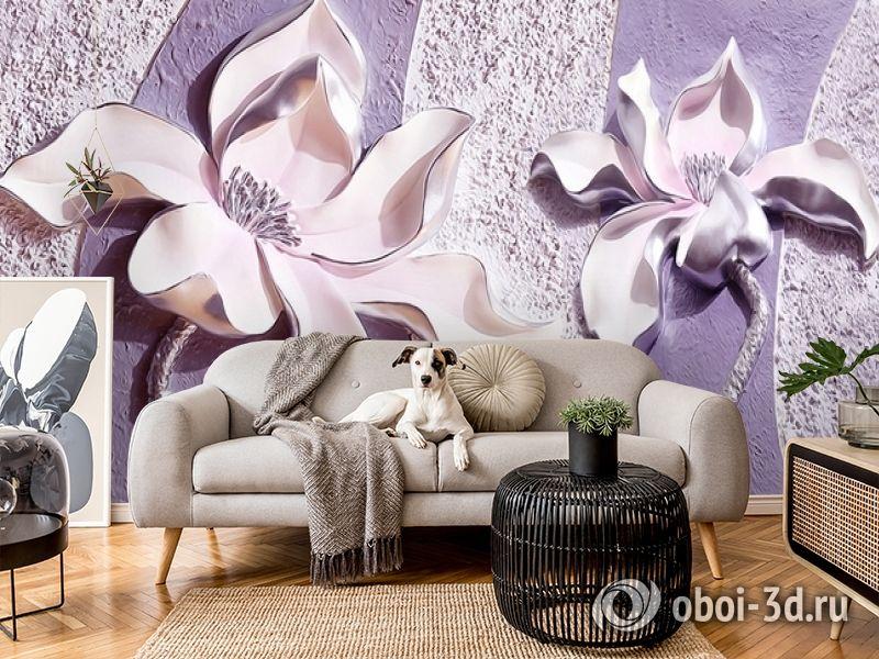 3D Фотообои «Фиолетовые магнолии на рельефном фоне» вид 5