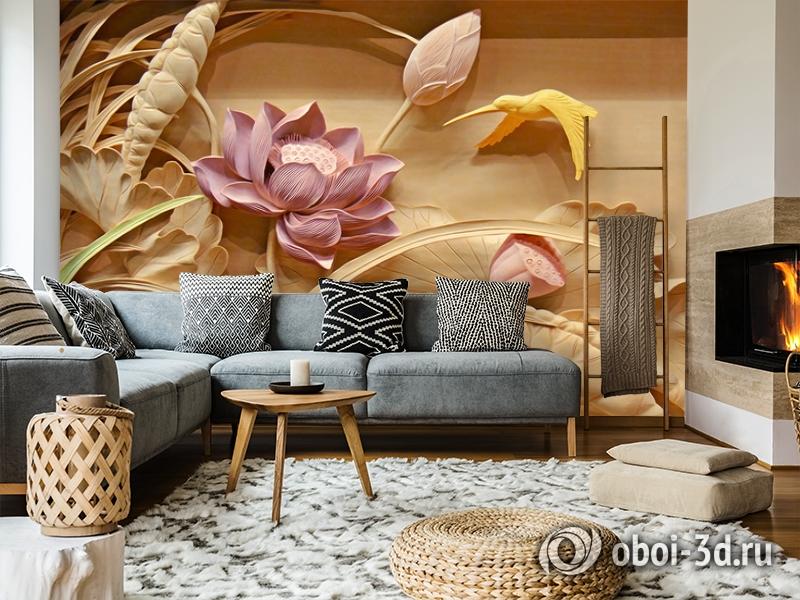 3D Фотообои  «Цветы с тиснением» вид 7