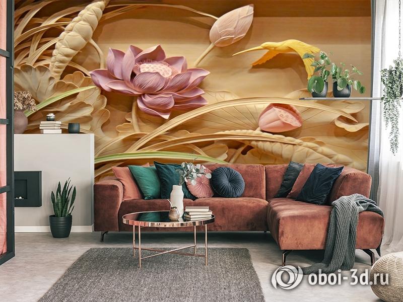 3D Фотообои  «Цветы с тиснением» вид 4