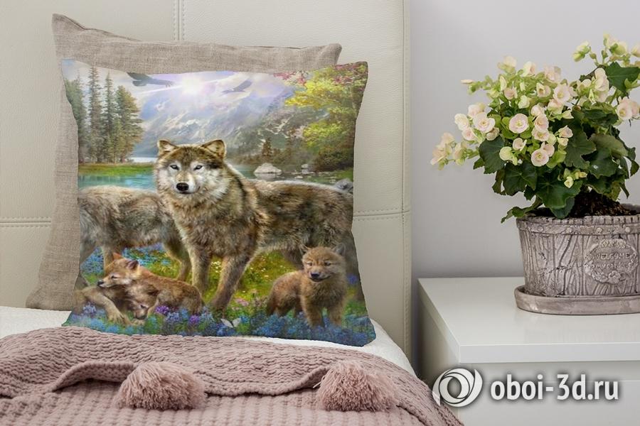 3D Подушка «Волки в весеннем лесу»