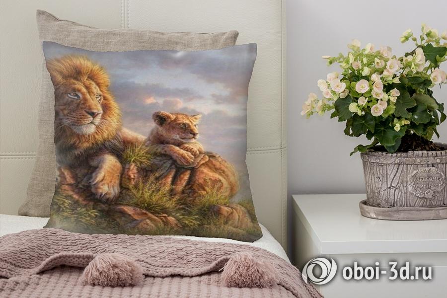 3D Подушка «Величественные львы»