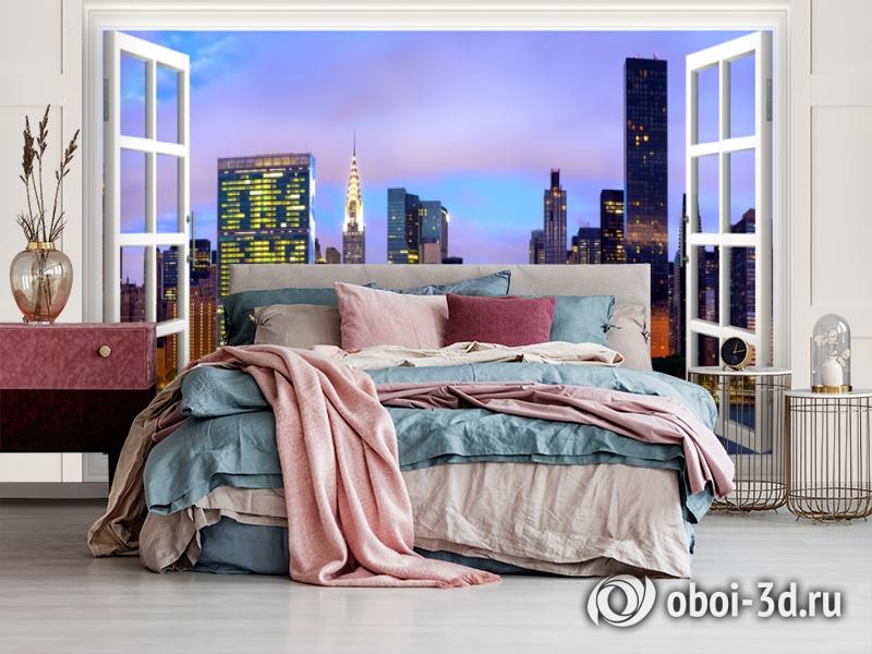 3D Фотообои  «Манхеттен вид из окна»  вид 4
