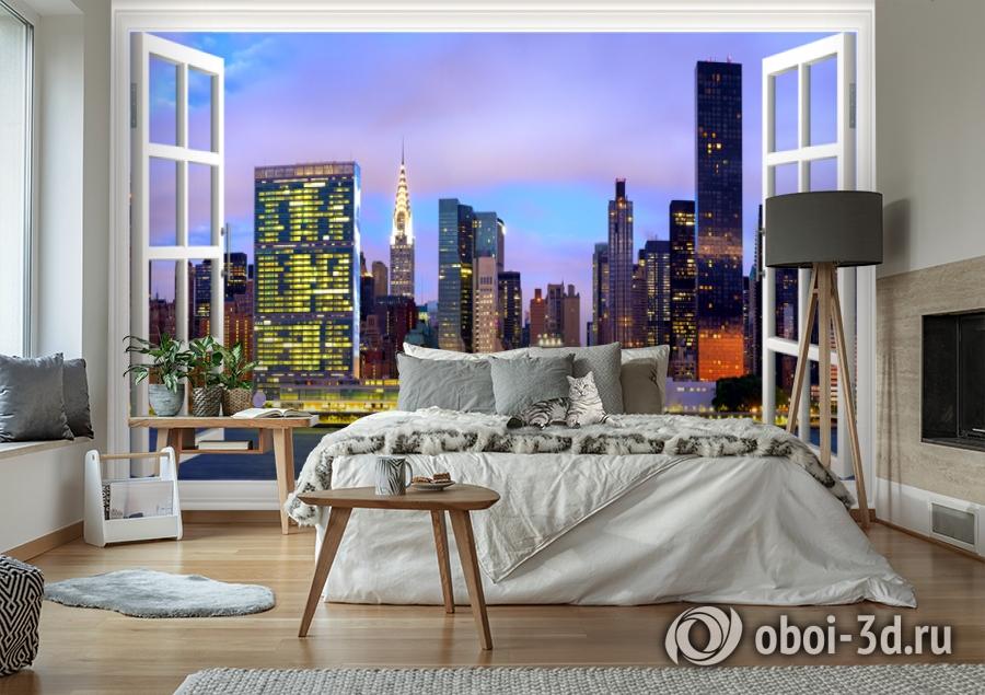 3D Фотообои  «Манхеттен вид из окна»  вид 2