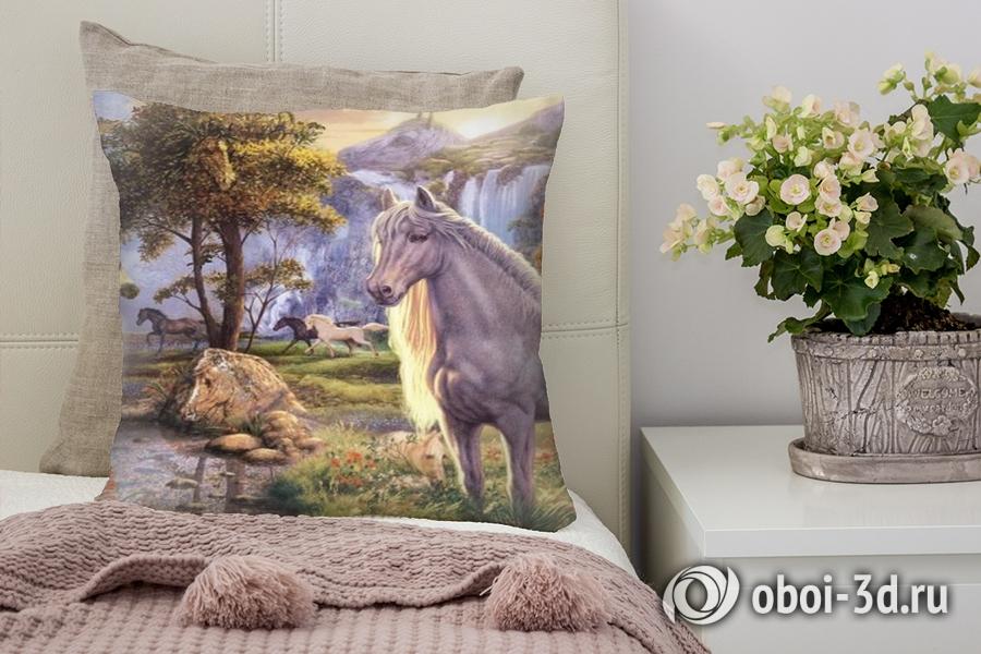 3D Подушка «Мустанги в лесу»