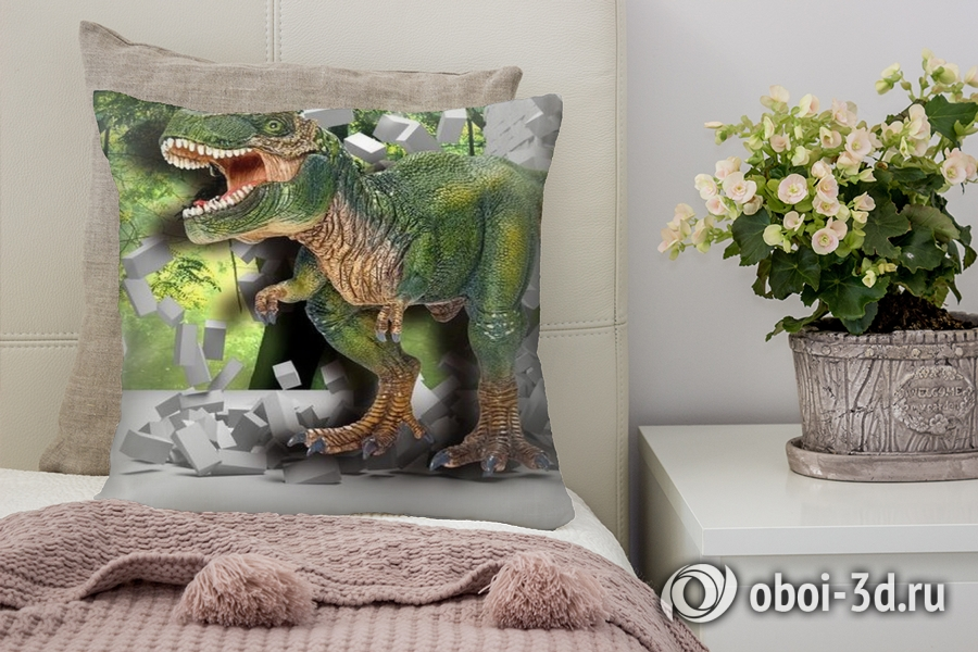 3D Подушка «Динозавр ломает преграды»