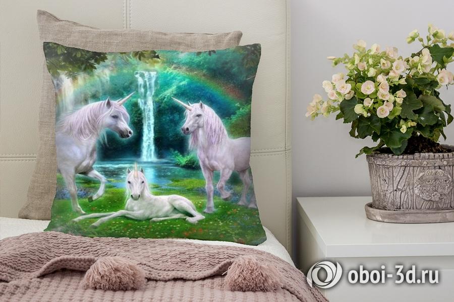 3D Подушка «Белые единороги»